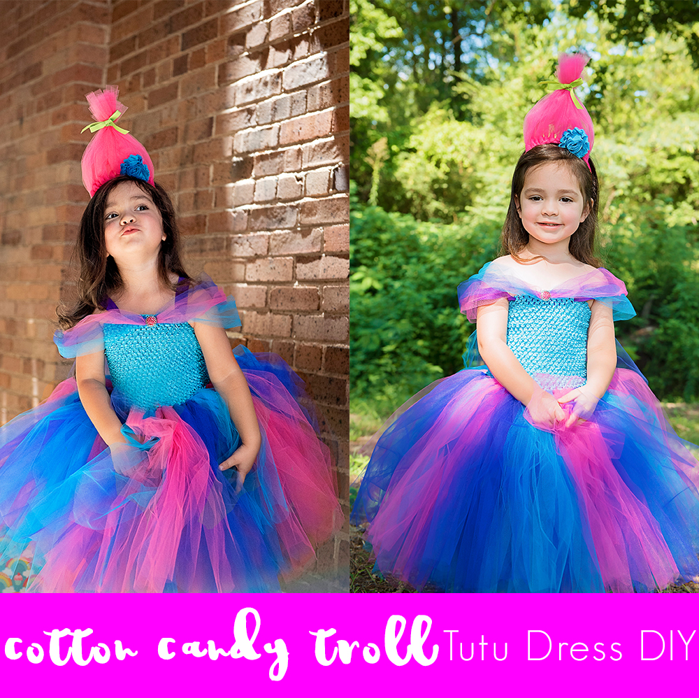 Cotton Candy Troll Tutu Dress DIY Tutorial
